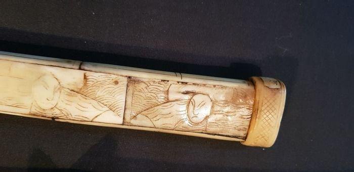 XIII Carved Bone Japanese Wakizashi Katana Edo Period ???? - Image 6 of 10
