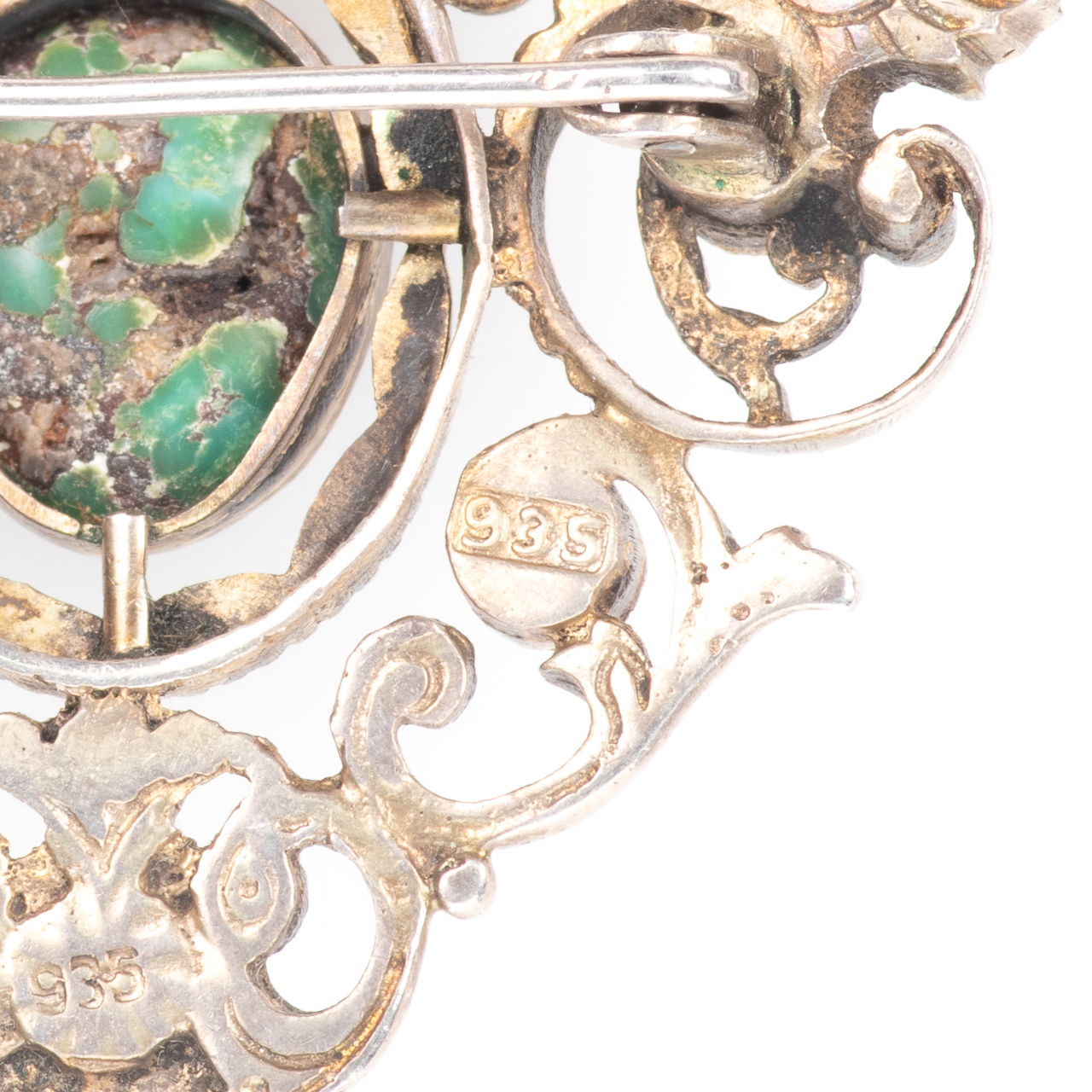 Austro-Hungarian 935 Silver Emerald, Amethyst & Turquoise Brooch - Image 6 of 6