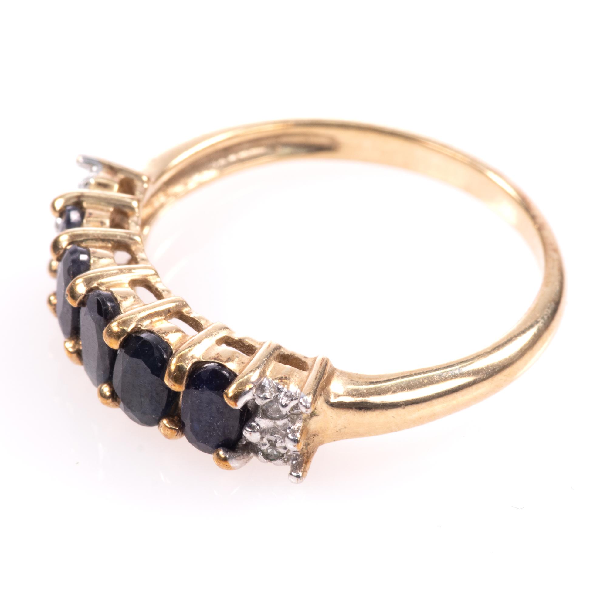 9ct Gold 5ct Sapphire & Diamond Ring - Image 4 of 7