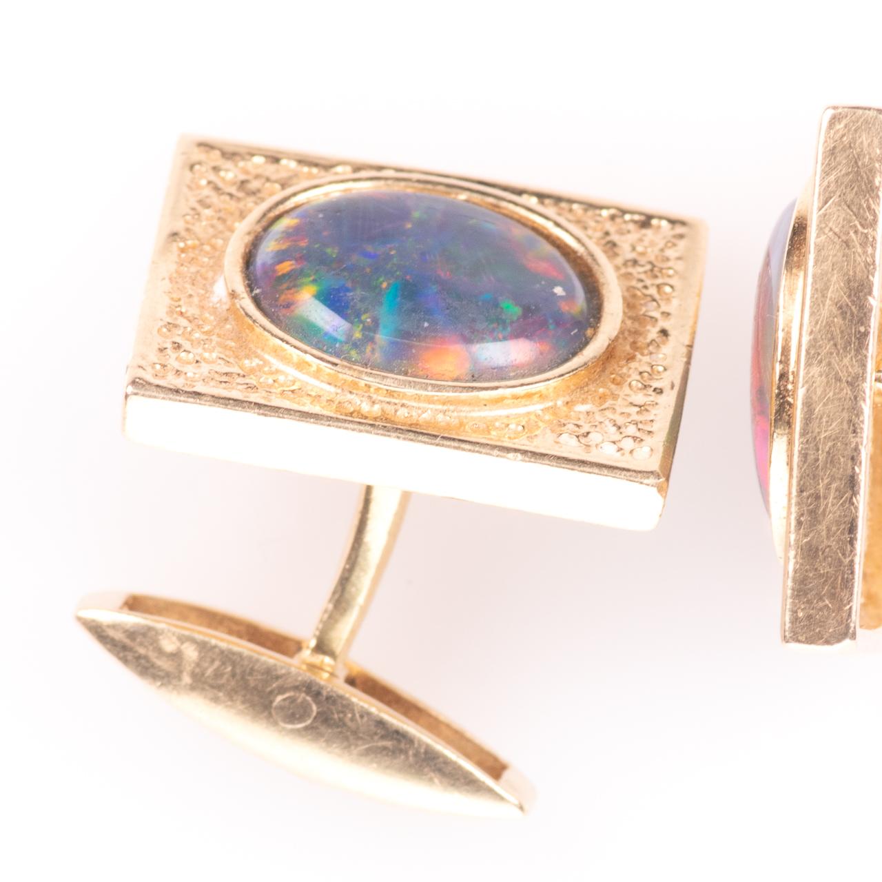 14ct Gold Gentleman's Black Lightning Opal Cufflinks - Image 6 of 6