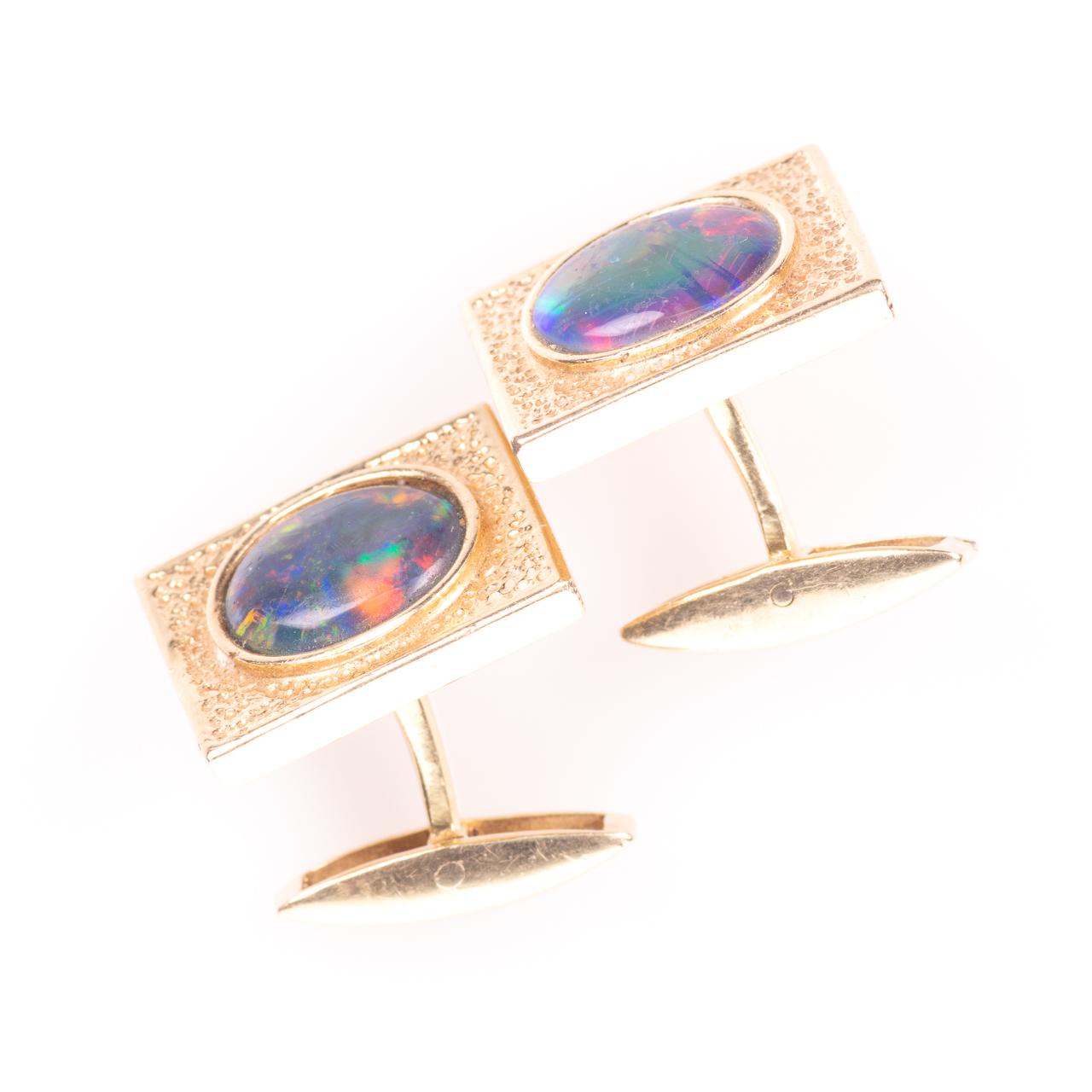 14ct Gold Gentleman's Black Lightning Opal Cufflinks