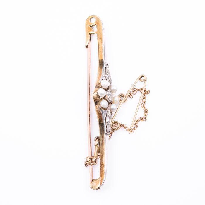 Art Deco 18ct Gold & Platinum Rose-Cut Diamond Pearl Brooch - Image 4 of 5