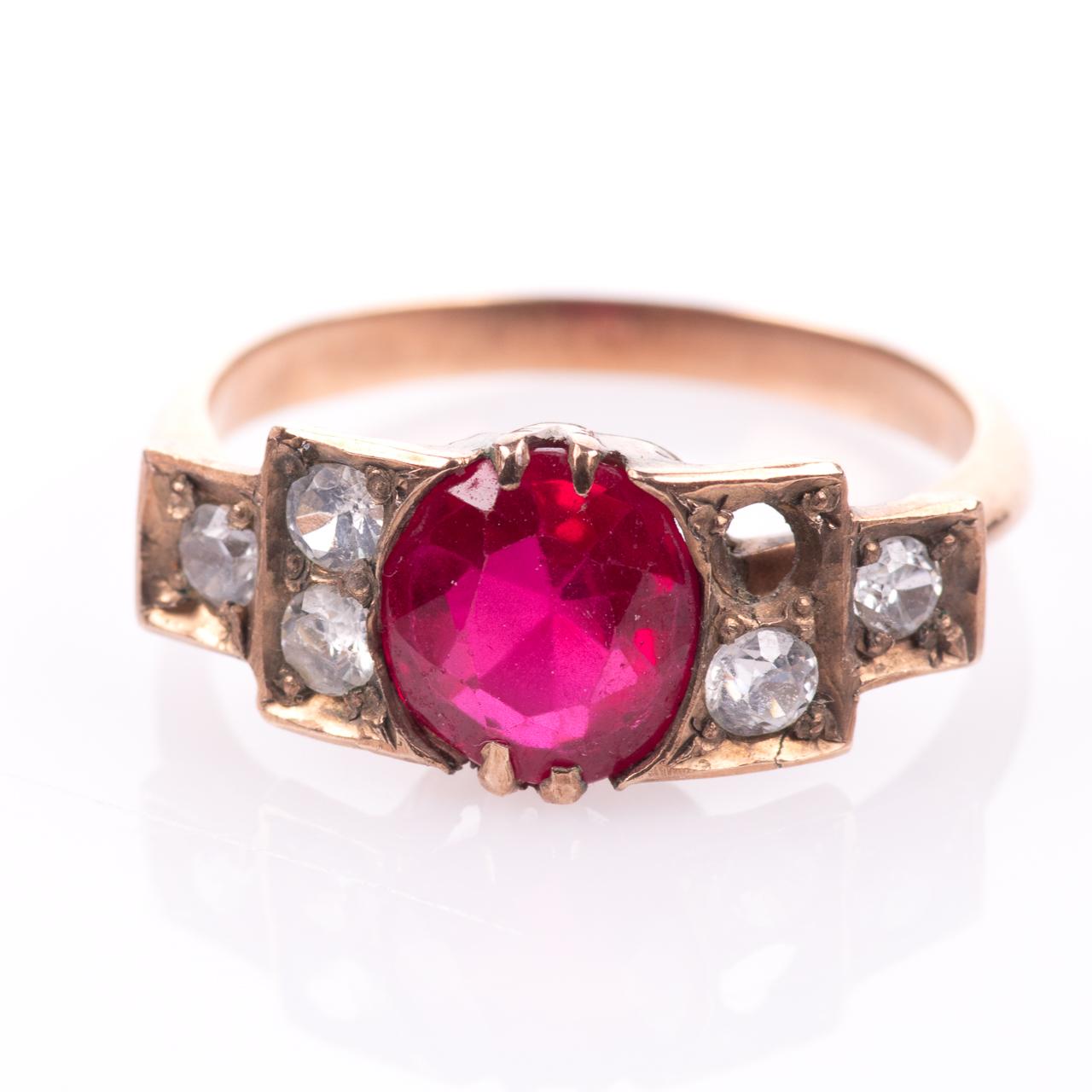 Art Deco Ruby & Paste Ring