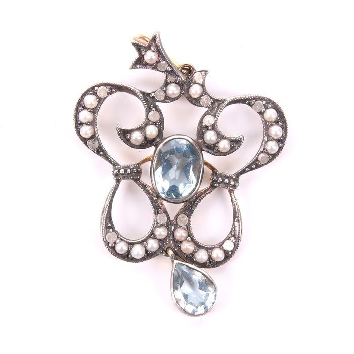 Victorian Aquamarine, Diamond & Pearl Pendant