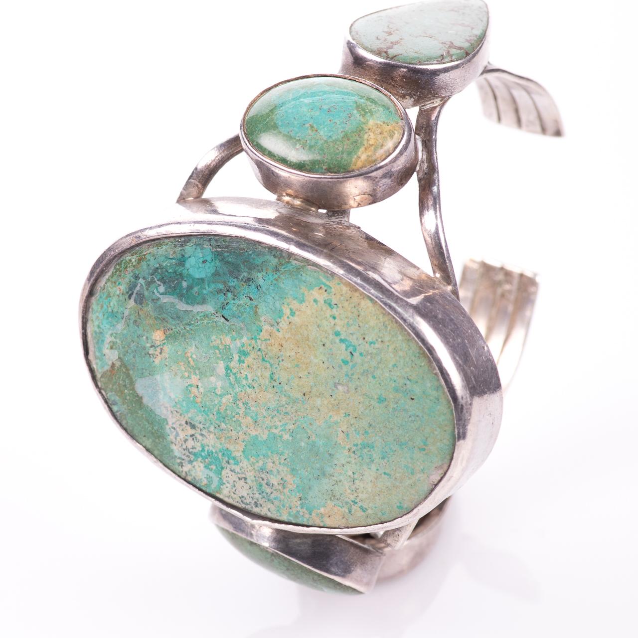 White Metal Navajo Turquoise Bangle
