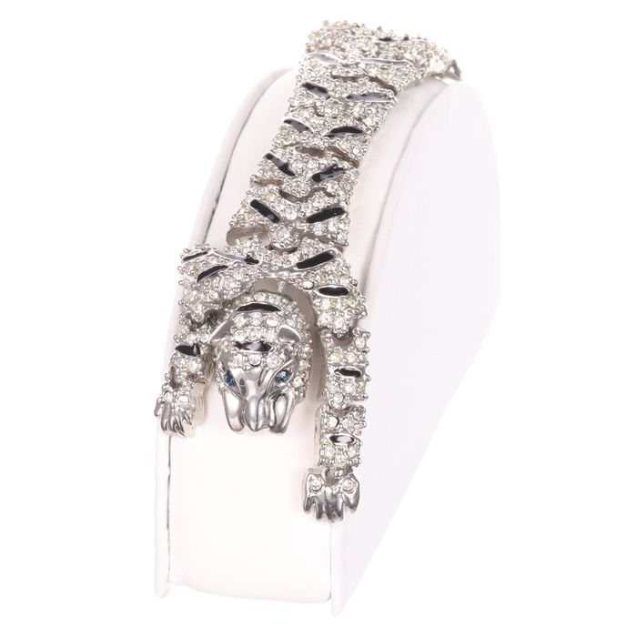 Cartier Style Articulated Panther Enamel Bracelet