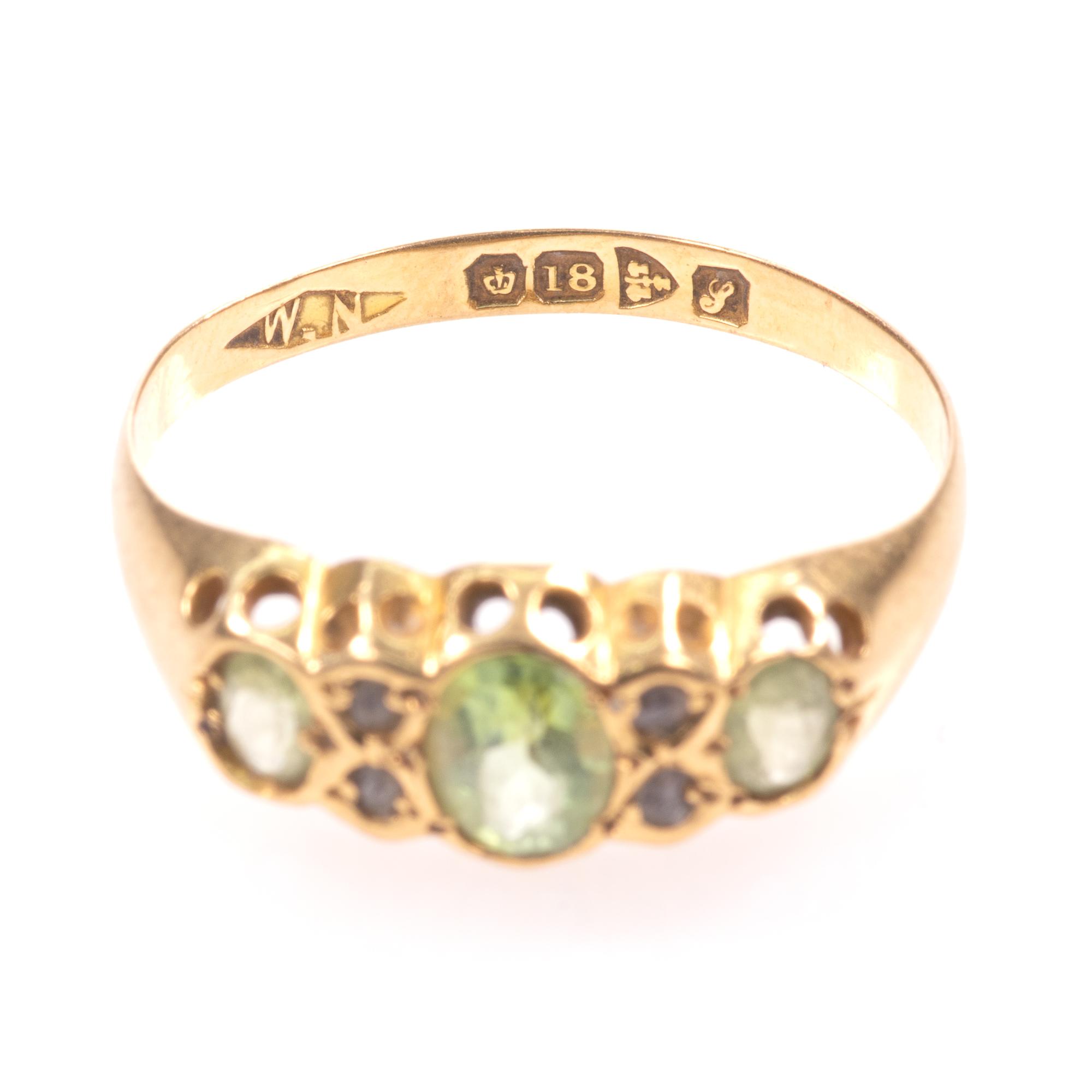 18ct Gold 0.90ct Peridot & Diamond Ring Chester 1918 - Image 4 of 8