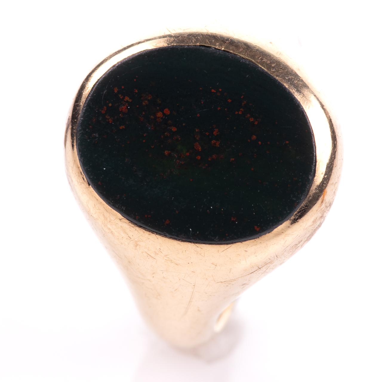 9ct Gold Bloodstone Birmingham Signet Ring