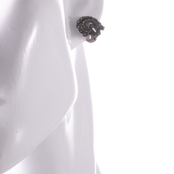 Art Deco Marcassite Silver Earrings - Image 3 of 4