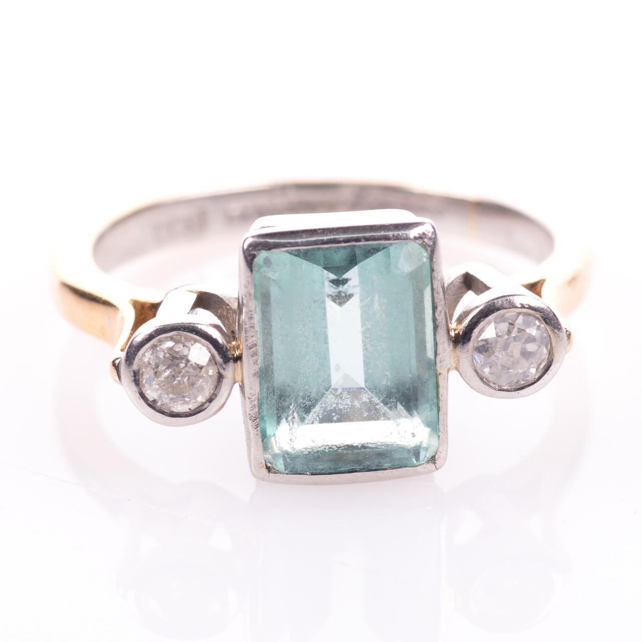 22ct Gold & Platinum 2ct Aquamarine & Diamond Art Deco Ring - Image 3 of 8