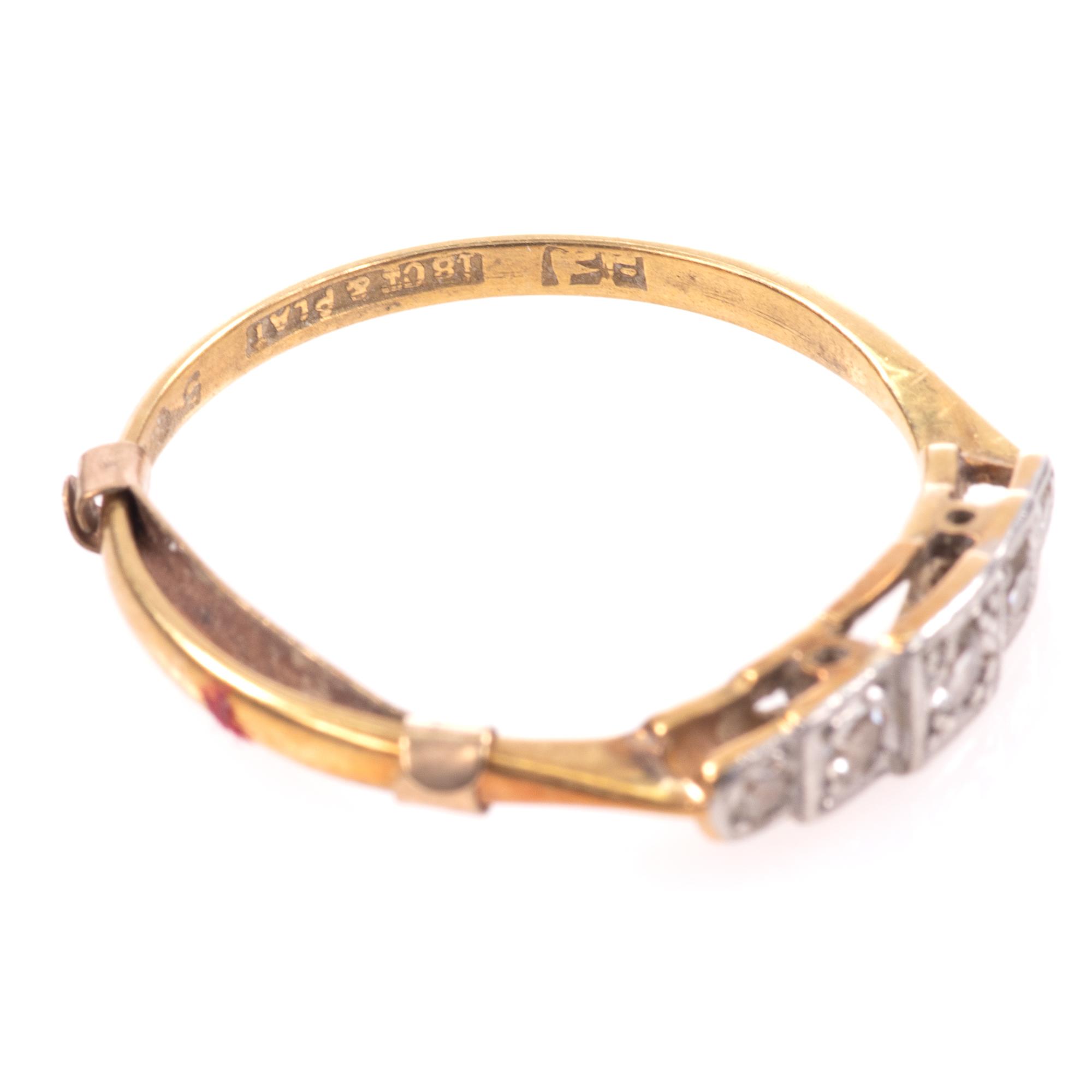 18ct Gold & Platinum Art Deco Diamond Ring - Image 7 of 9
