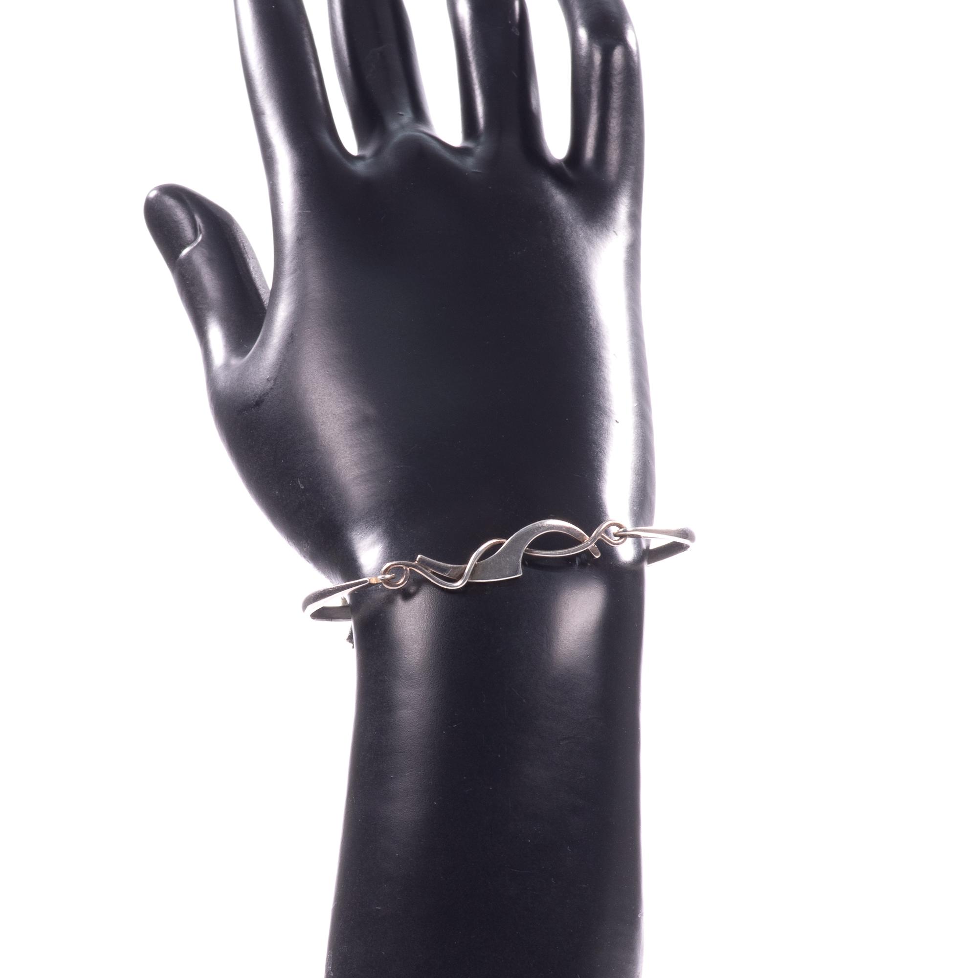 Silver Abstarct Modernist Bangle Bracelet - Image 8 of 9