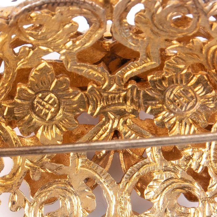 Victorian Renaissance Revival Jewel Turquoise & Foil Brooch - Image 5 of 6