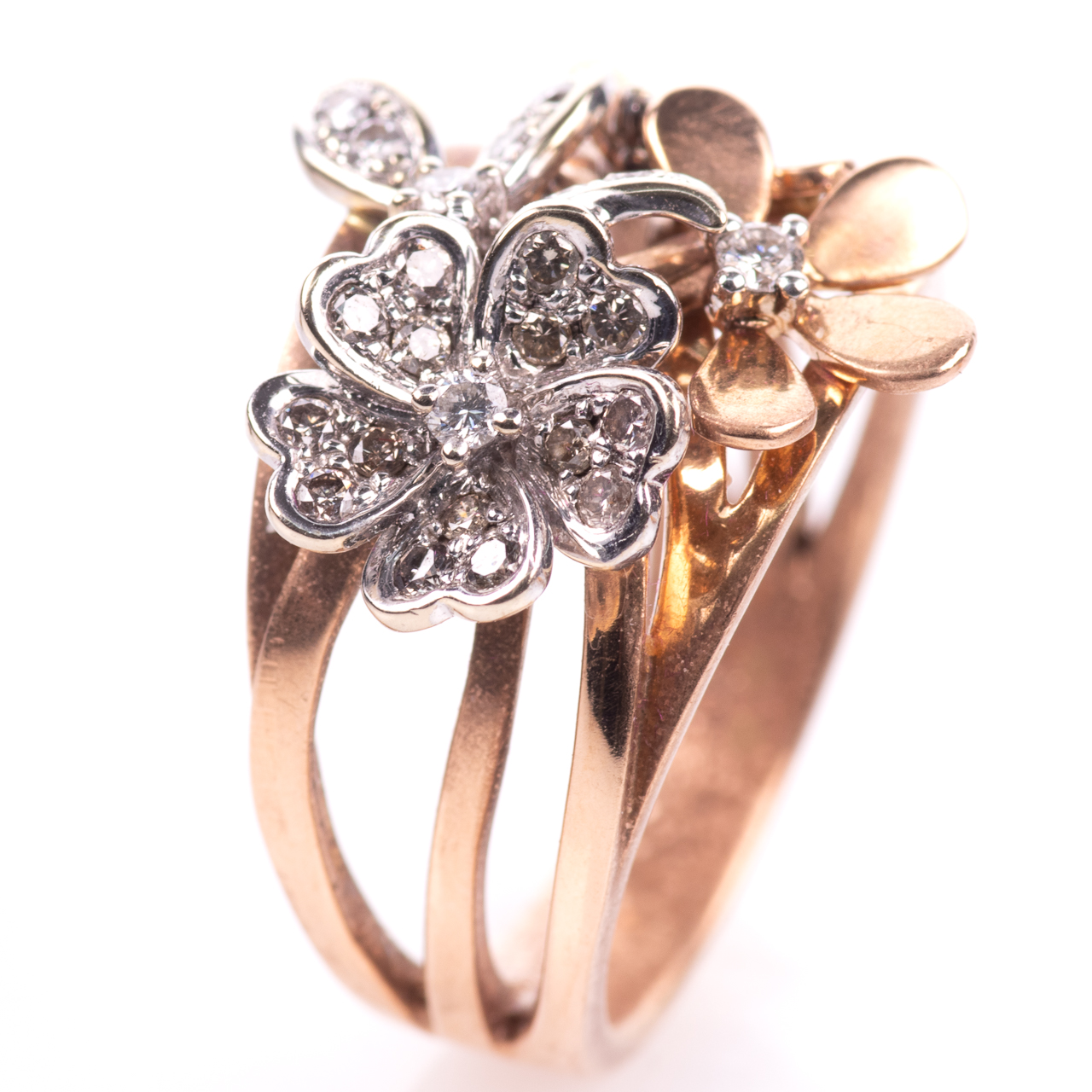 18ct Pink Gold Floral 0.25ct Diamond Ring