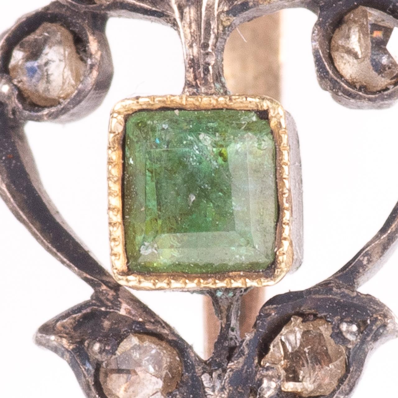 Rose Cut Diamond & Emerald Fleur de Lis Pendant - Image 2 of 6