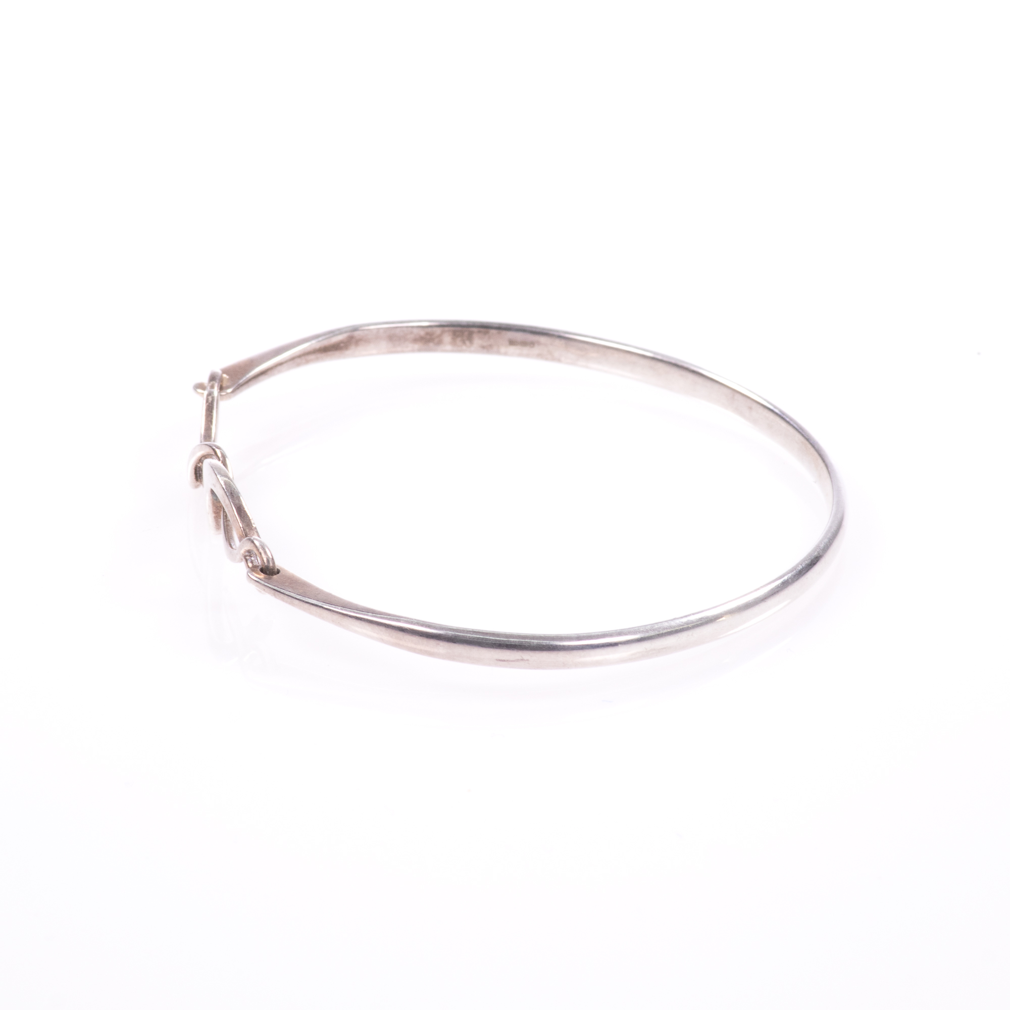 Silver Abstarct Modernist Bangle Bracelet - Image 3 of 9