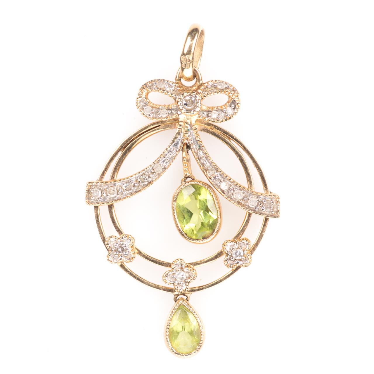 9ct Gold Art Nouveau Peridot & Diamond Pendant