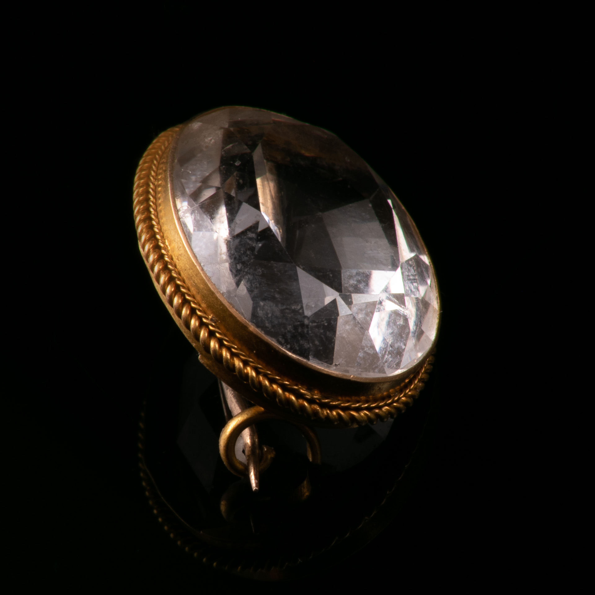 18ct Gold Victorian Faceted Rock Crystal Brooch - Image 3 of 5