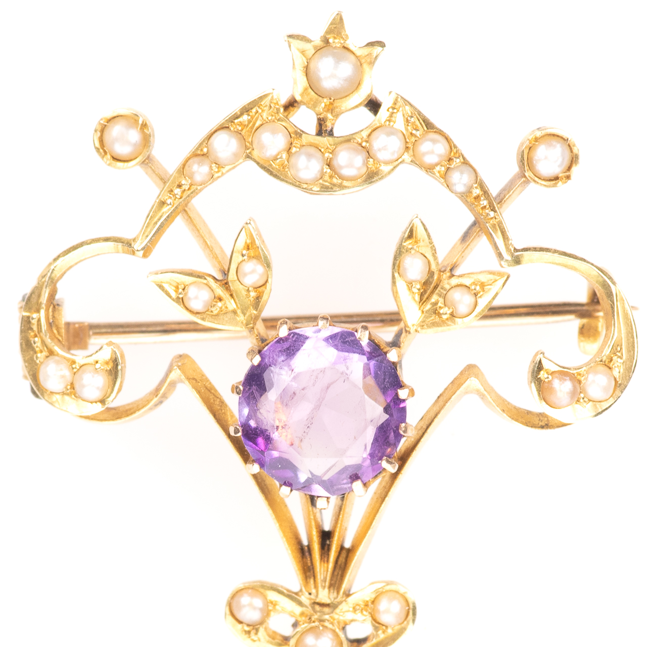9ct Gold 3.60ct Amethyst & Pearl Art Nouveau Brooch - Image 3 of 6