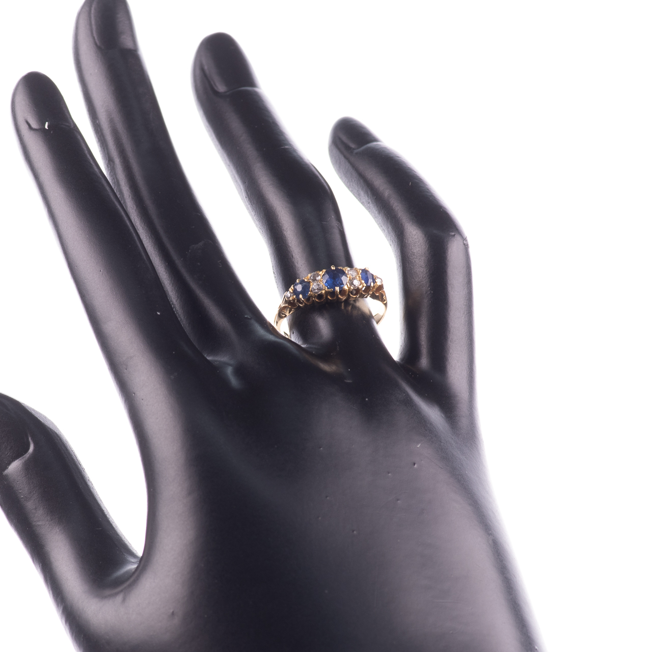 18ct Gold George V 1ct Sapphire & Diamond Ring London 1908 - Image 2 of 7