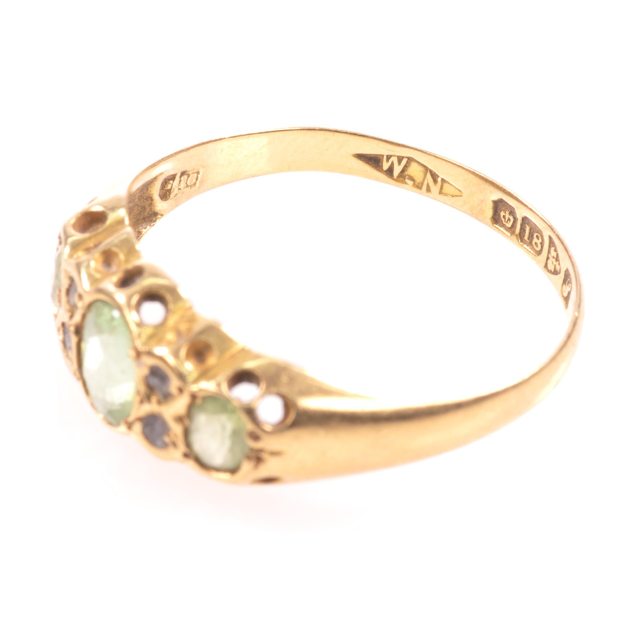 18ct Gold 0.90ct Peridot & Diamond Ring Chester 1918 - Image 5 of 8