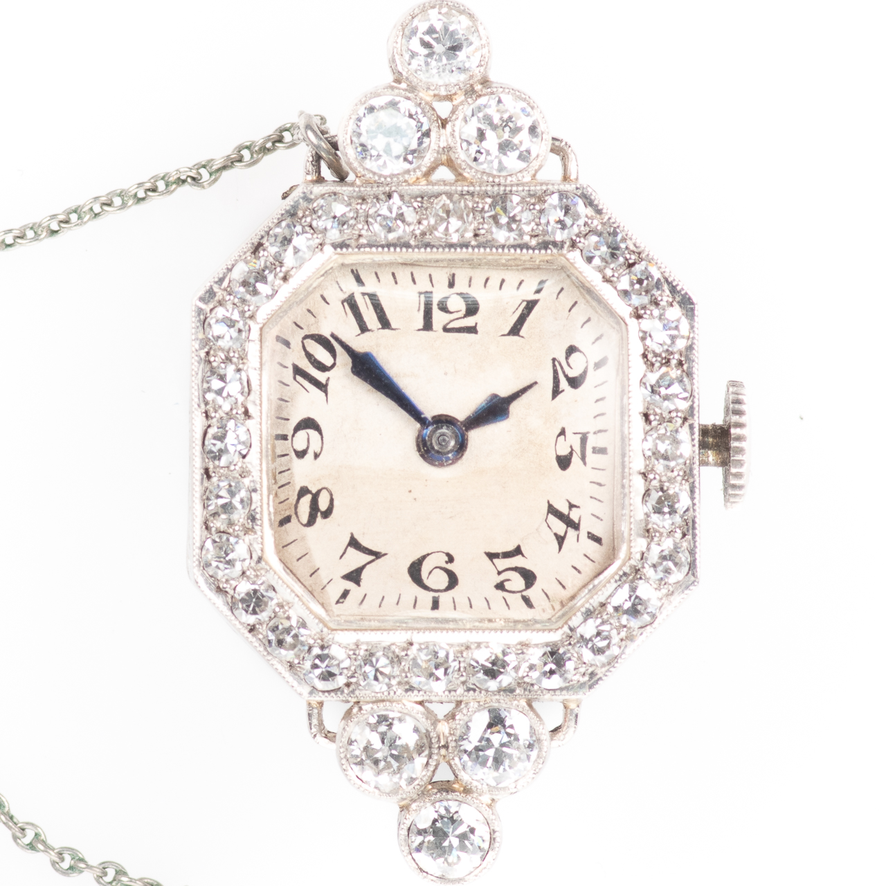 Platinum Art Deco 0.90ct Diamond Watch Brooch