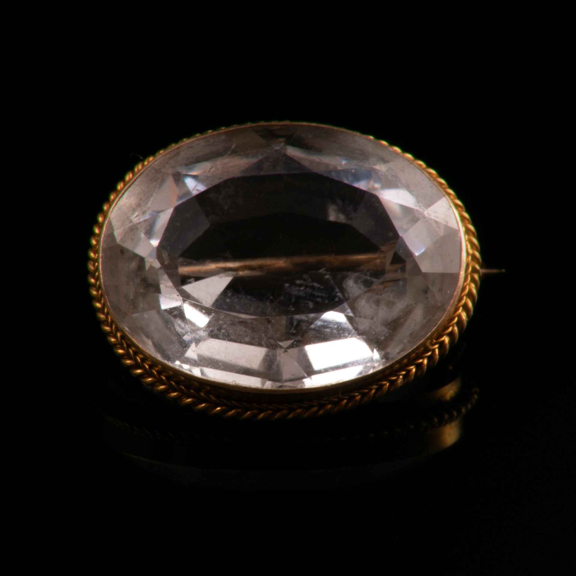 18ct Gold Victorian Faceted Rock Crystal Brooch
