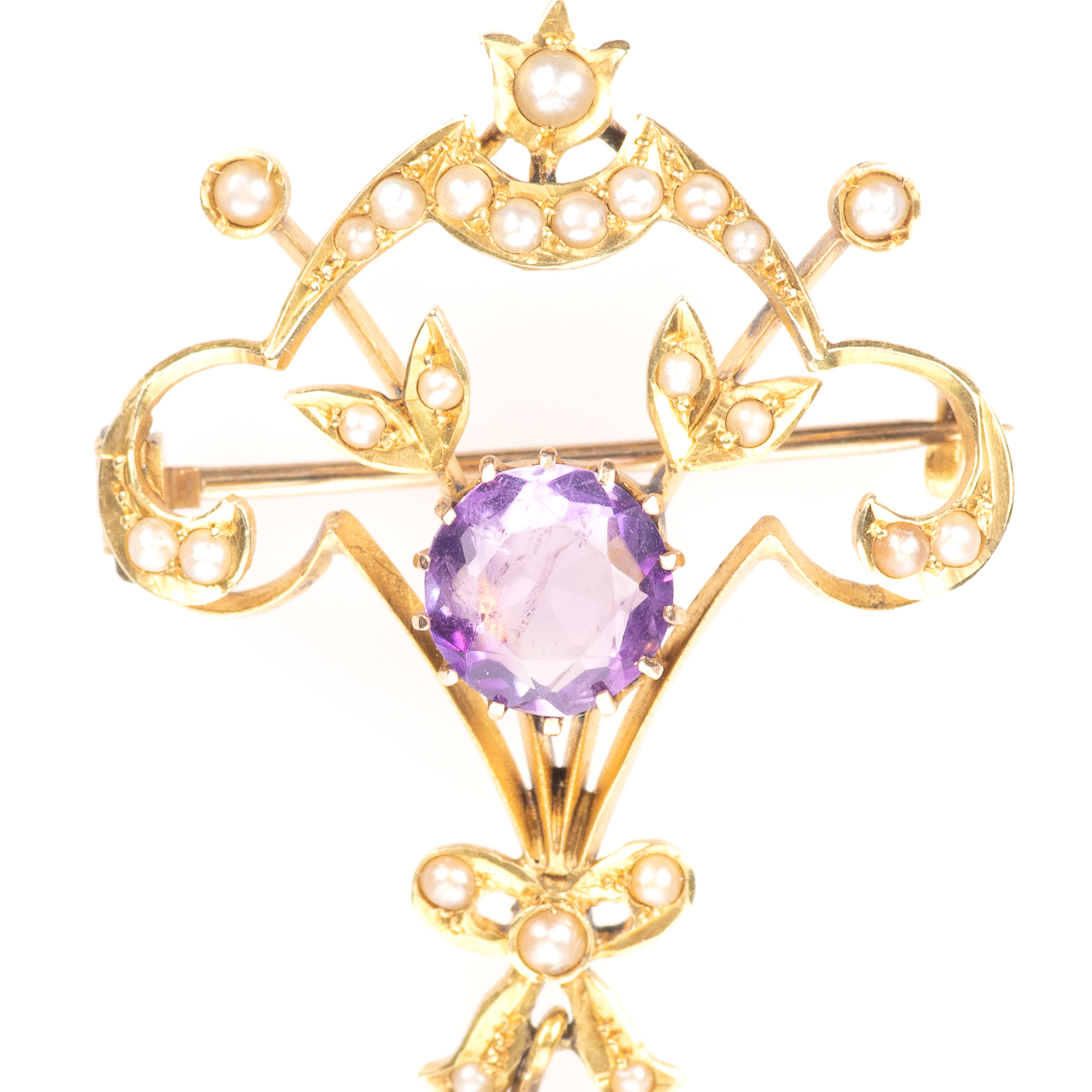 9ct Gold 3.60ct Amethyst & Pearl Art Nouveau Brooch - Image 2 of 6