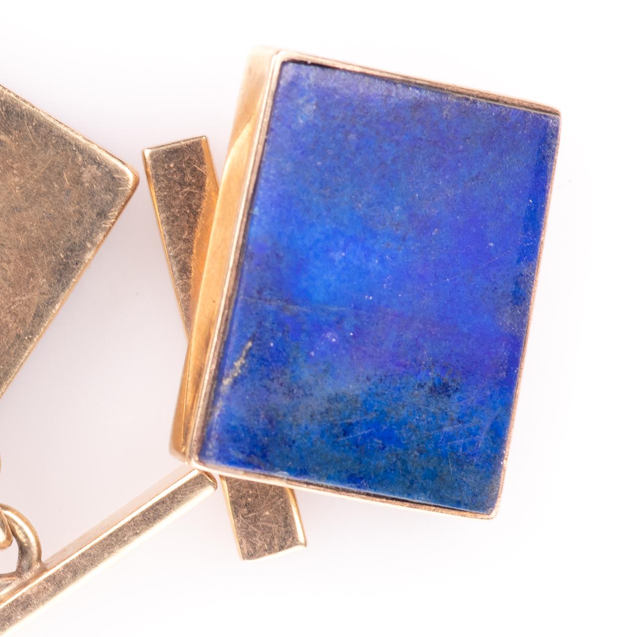 9ct Gold Gentleman's Lapis Lazuli Cufflinks - Image 2 of 5