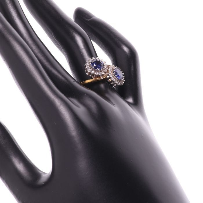 Synthetic Sapphire & Paste Gilded Ring - Image 2 of 5