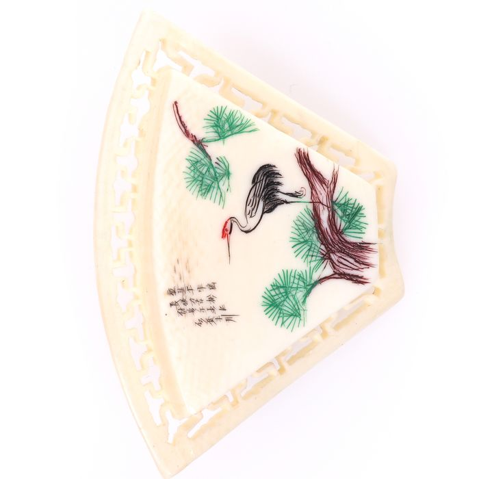 Japanese Carved Bone Brooch Depicting Crane - Image 3 of 5