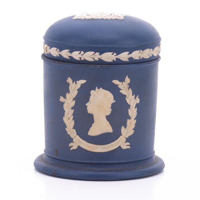 Wedgwood Jasperware Silver Jubilee Queen Elizabeth Jar