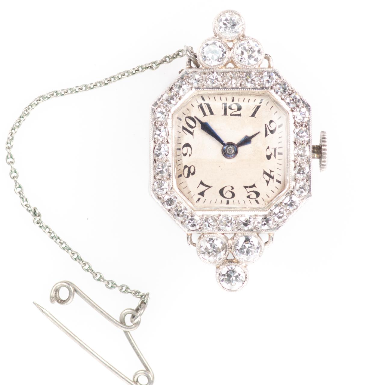 Platinum Art Deco 0.90ct Diamond Watch Brooch - Image 2 of 6