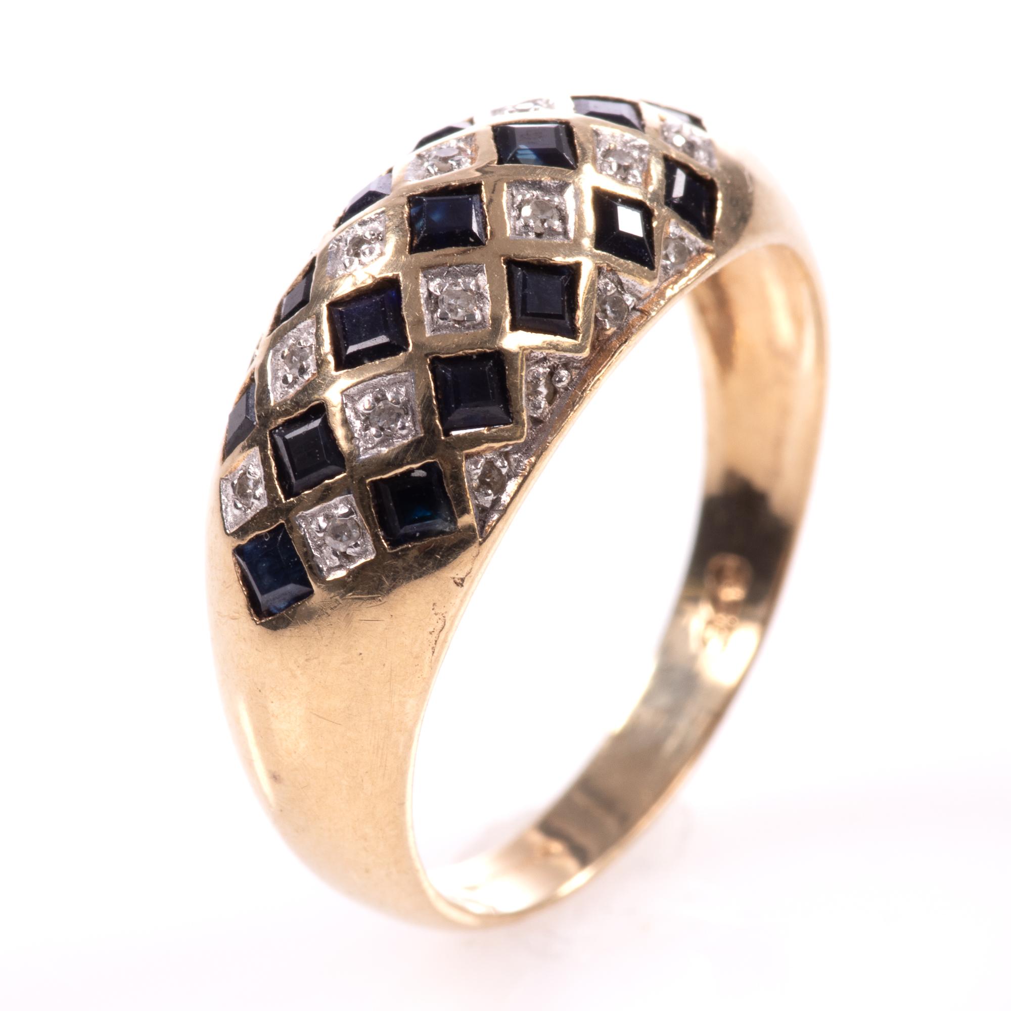 9ct Gold Art Deco Style 0.68ct Sapphire & Diamond Ring