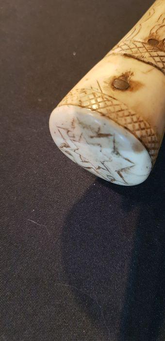 XIII Carved Bone Japanese Wakizashi Katana Edo Period ???? - Image 9 of 10