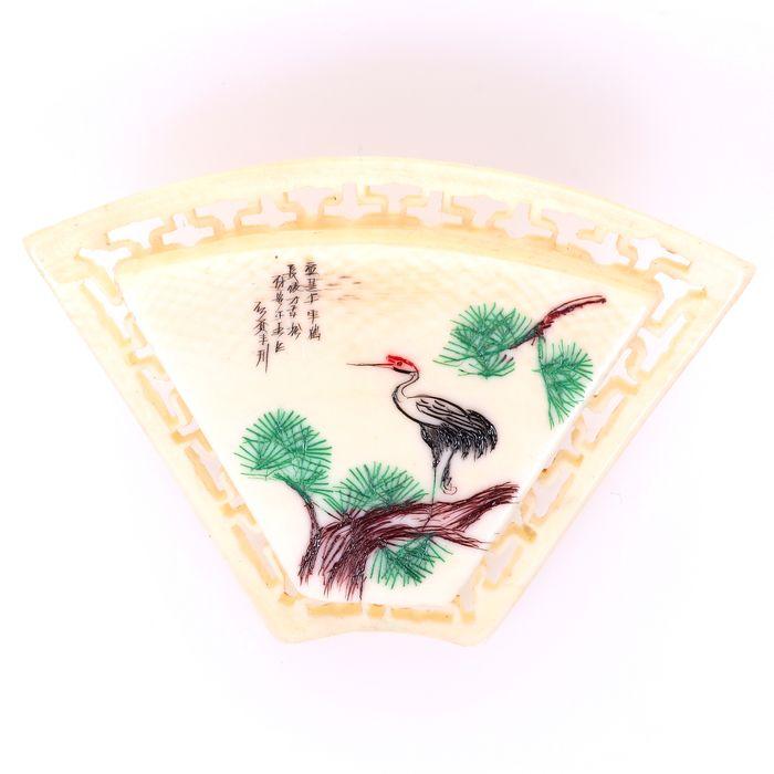 Japanese Carved Bone Brooch Depicting Crane
