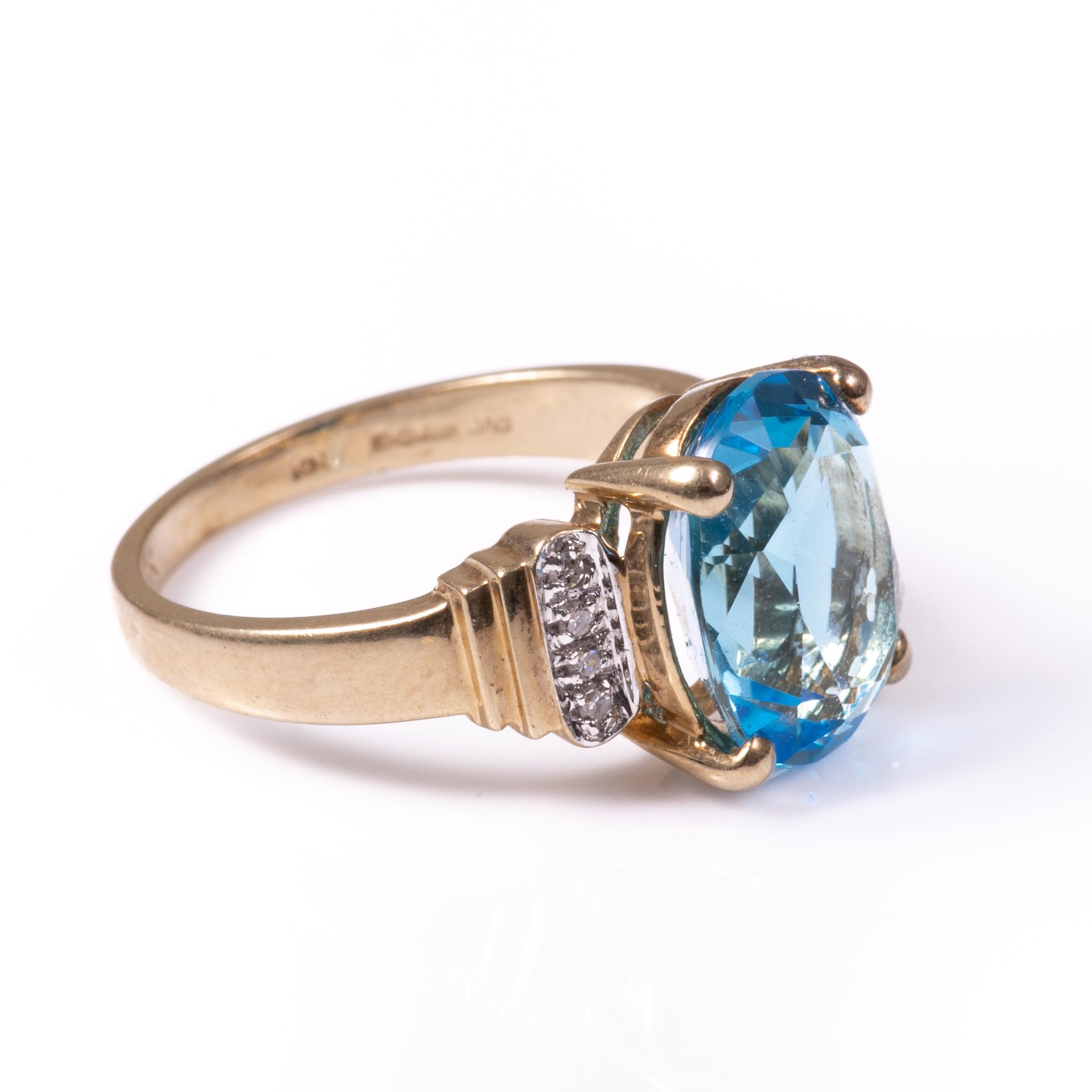 9ct Gold 4.40ct Blue Topaz & Diamond Ring - Image 5 of 6