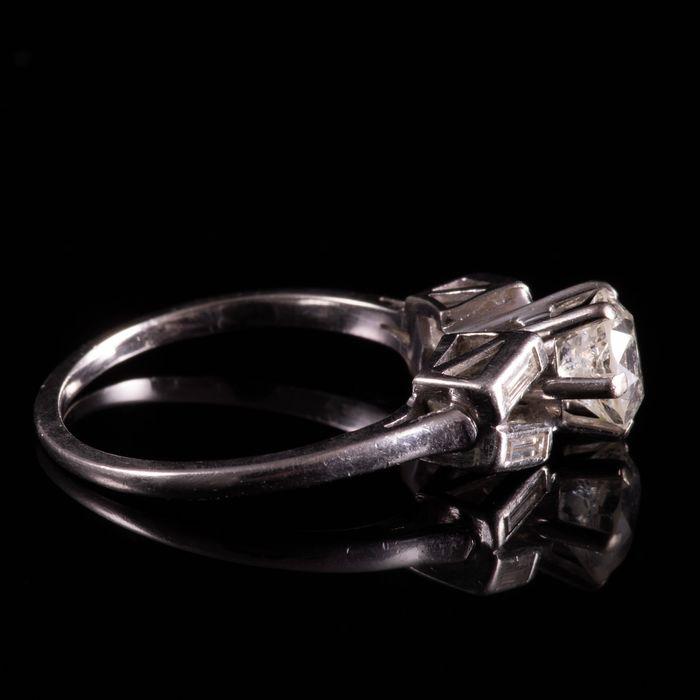 Art Deco Platinum 1ct Diamond Ring - Image 6 of 6