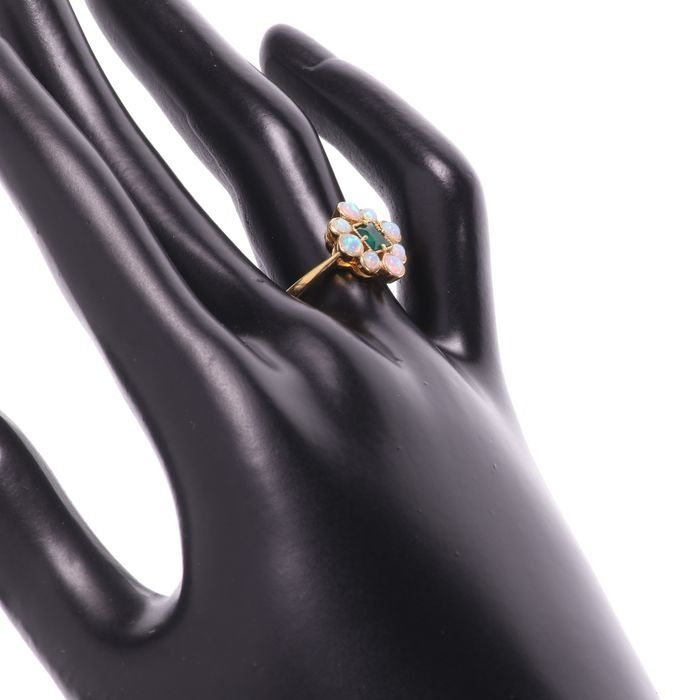Opal & Emerald Paste Gilded Ring - Image 2 of 4