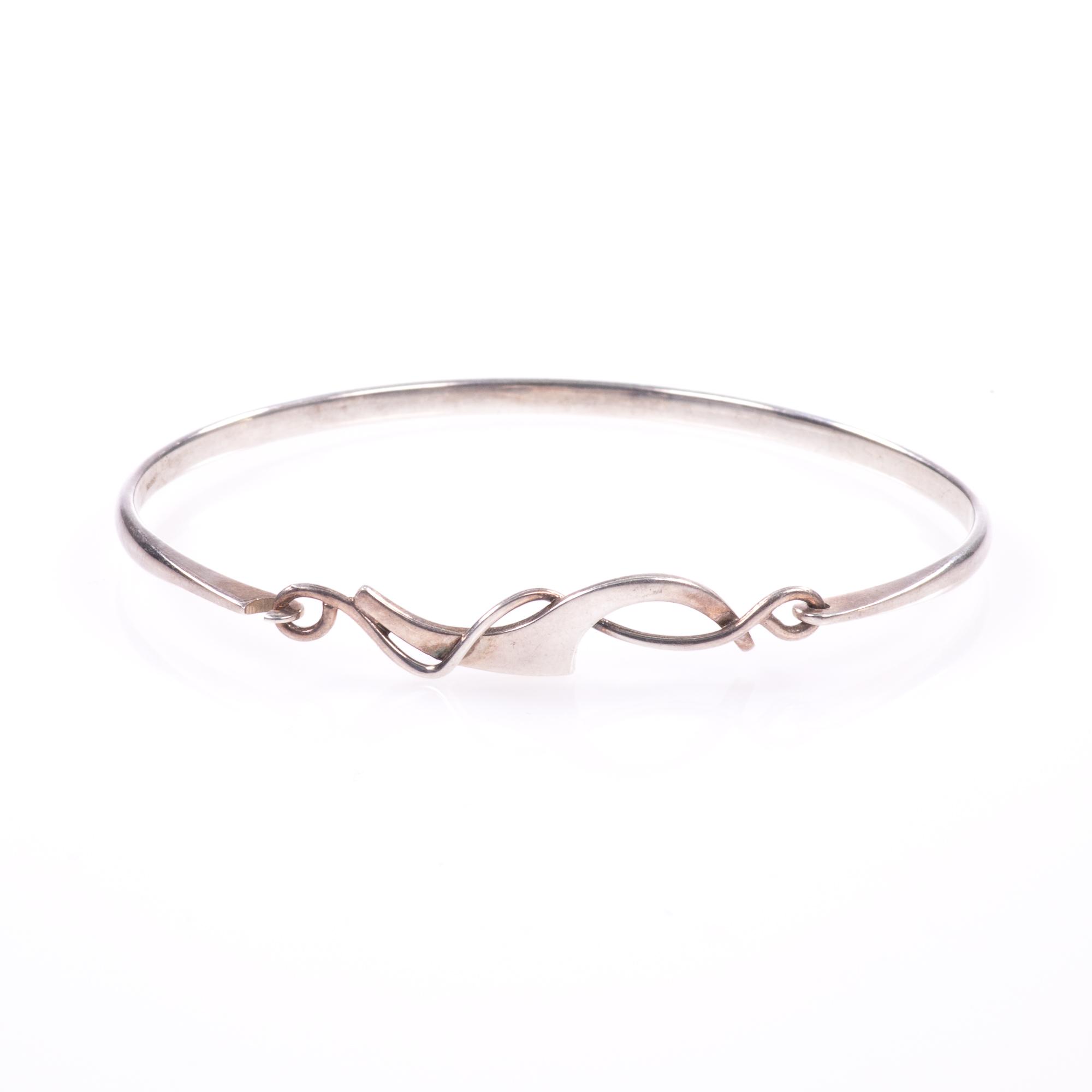 Silver Abstarct Modernist Bangle Bracelet - Image 9 of 9