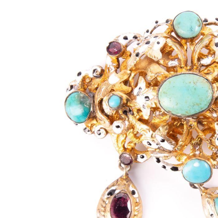 Victorian Renaissance Revival Jewel Turquoise & Foil Brooch - Image 3 of 6