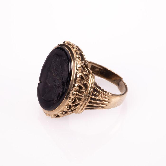 9K Gold Hardstone Intaglio Roman Style Ring - Image 4 of 7