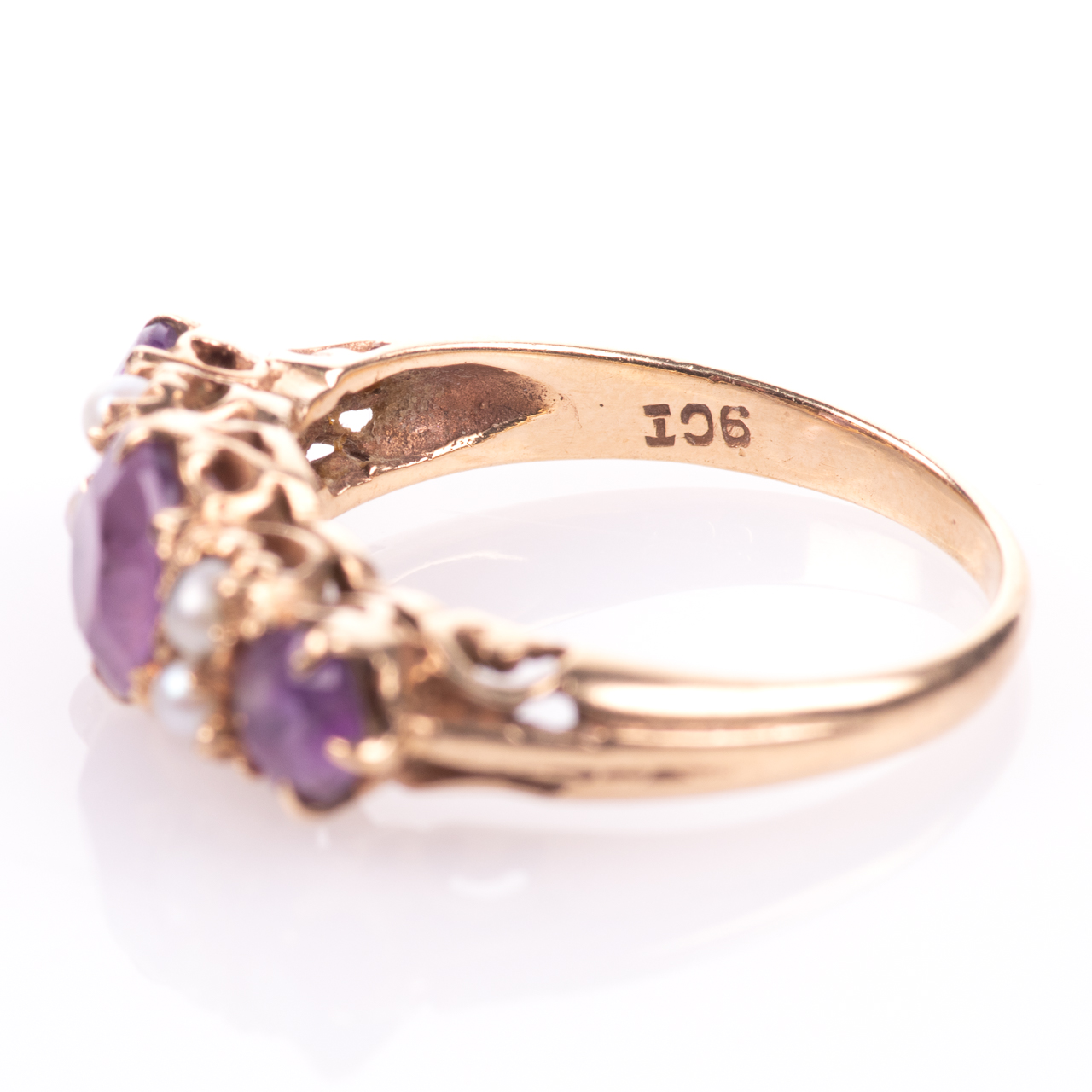 9ct Gold 2.10ct Amethyst & Pearl Ring - Image 5 of 7