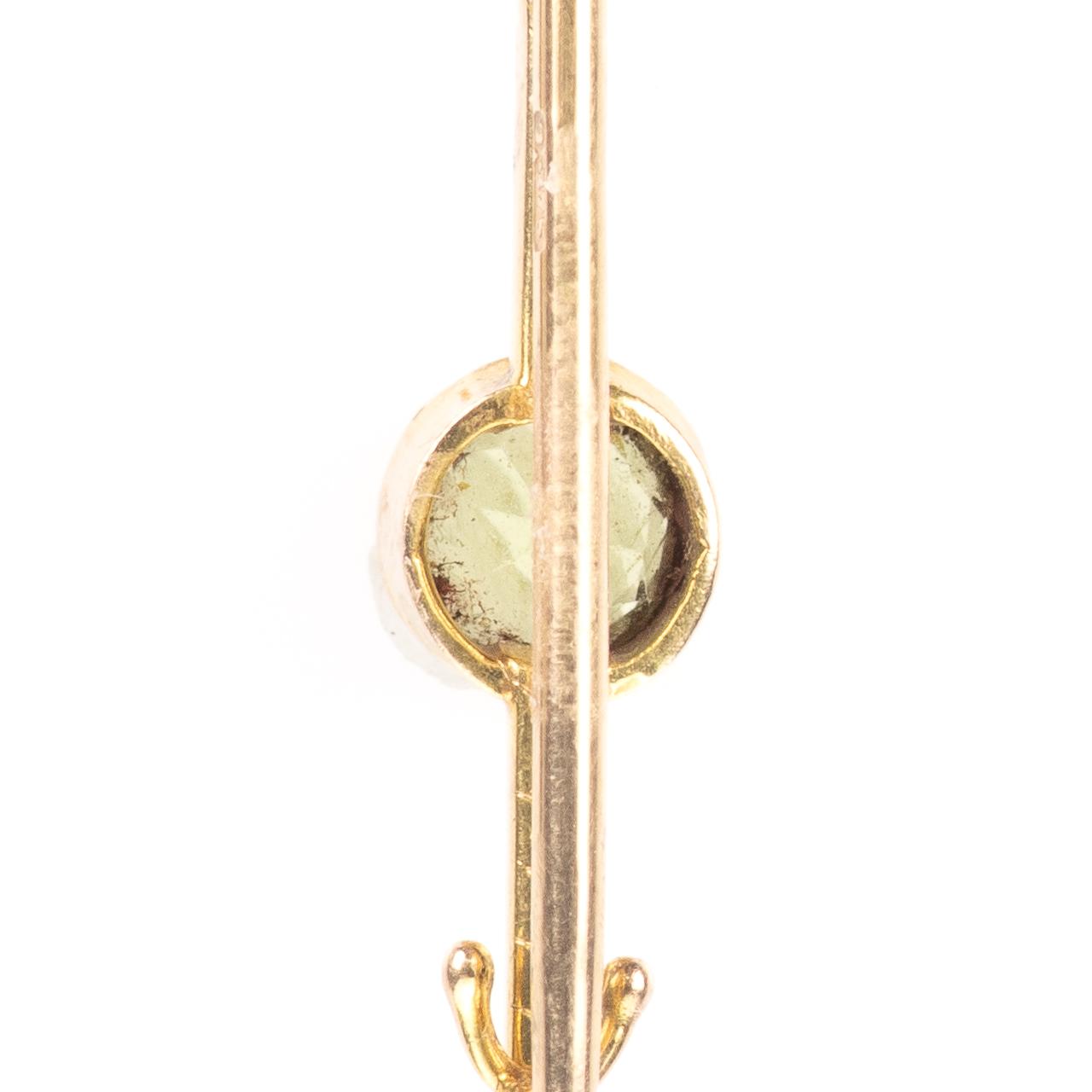 9ct Gold 0.50ct Peridot Brooch Birmingham 1977 Cropp & Farr Ltd - Image 6 of 6