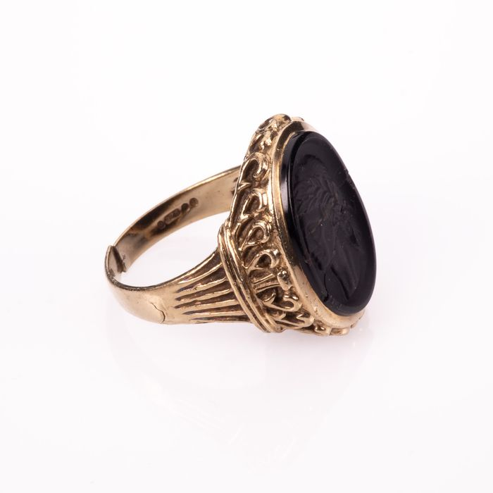 9K Gold Hardstone Intaglio Roman Style Ring - Image 7 of 7