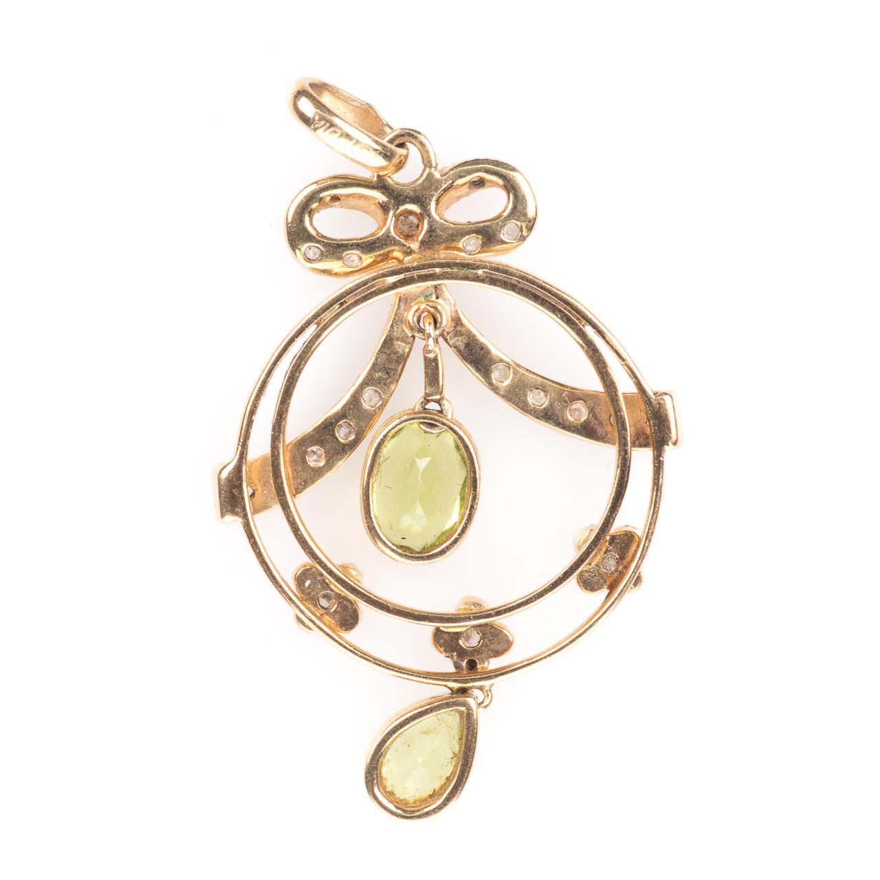 9ct Gold Art Nouveau Peridot & Diamond Pendant - Image 4 of 6