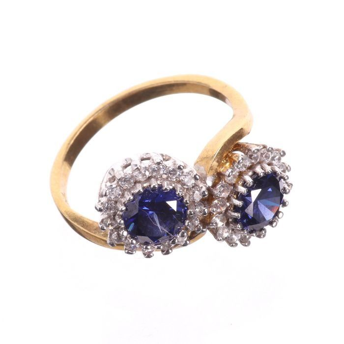 Synthetic Sapphire & Paste Gilded Ring - Image 5 of 5