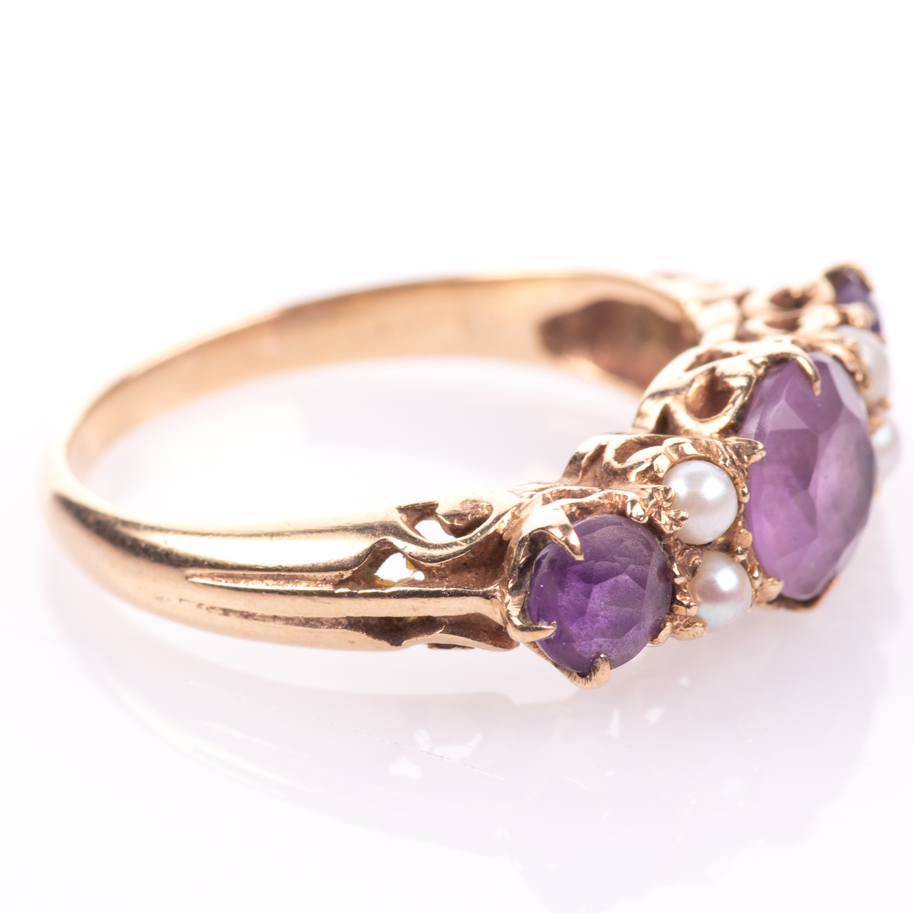 9ct Gold 2.10ct Amethyst & Pearl Ring - Image 7 of 7