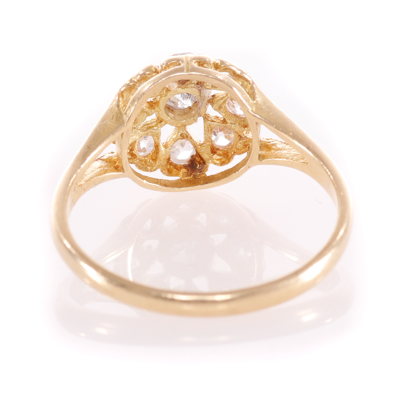18ct Gold Rose Cut 0.35ct Diamond Cluster Ring - Image 6 of 8