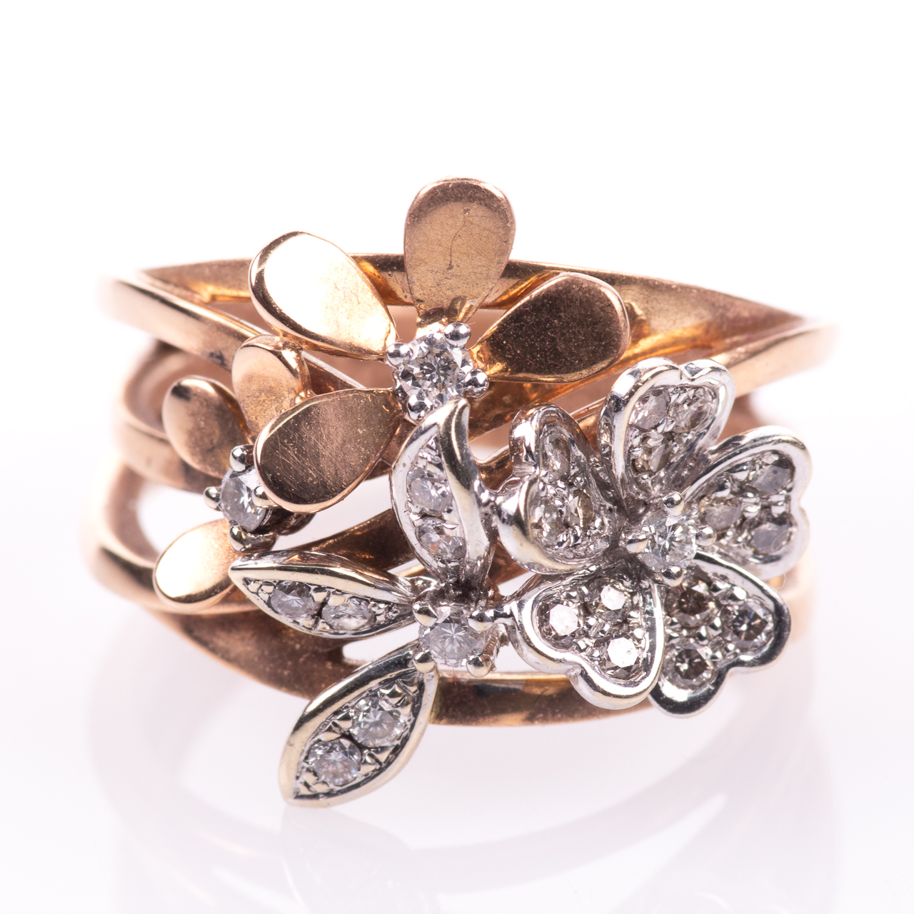 18ct Pink Gold Floral 0.25ct Diamond Ring - Image 3 of 7